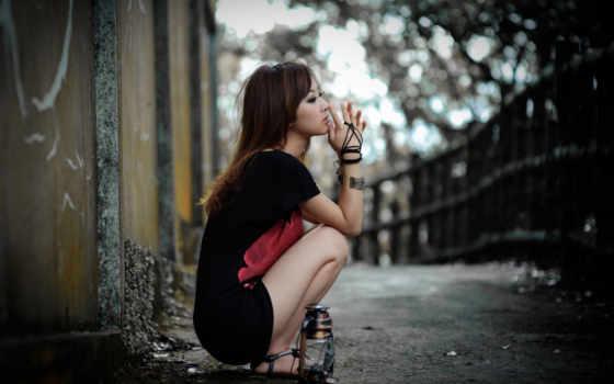 девушка, грусть, одиночка, мысли,