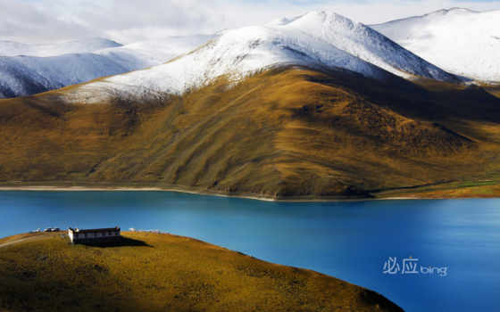 озеро, tibet, yamdrok