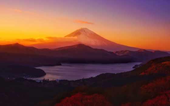 , горизонт, гора, озеро, закат