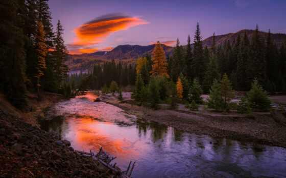 река, гора, над, telefon, dodana, tapetum, imagen, tapety, закат
