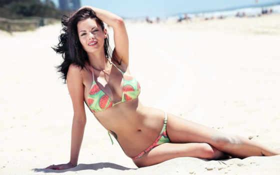 девушка, пляже, джессика