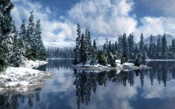 winter, природа, река