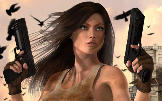 девушка, пистолеты, город