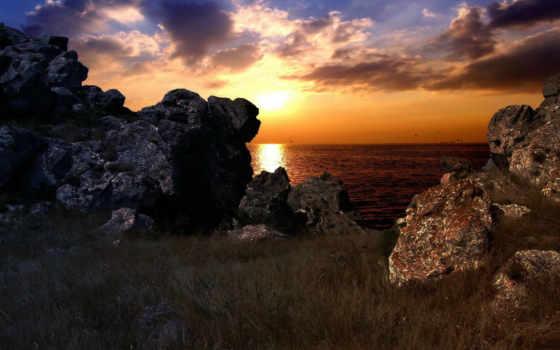 небо, скалы, очень