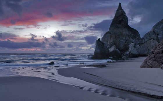 море, сумерки, surf, берег, вечер, песок, португалия, закат, скалы, небо, тучи,