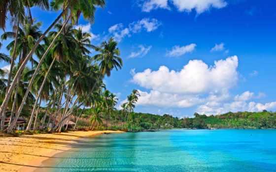 glacier, море, картины, модульные, песок, пляж, дома, sawyer, пальмы, oblaka, модульных,