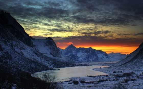 north, winter, утро, горы, озера, фоны,