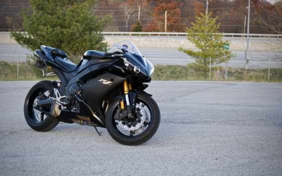 yamaha, yzf, black, bike, supersport, trees, мотоцикл, машины, мотоциклы,