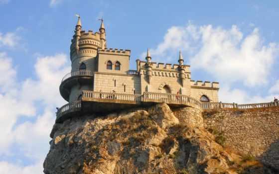 nest, ласточка, castle, gaspra, cape, крым, небо, ай, todor, rock, clouds,