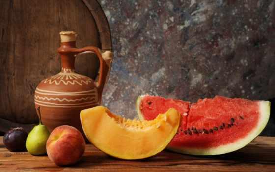 натюрморт, арбуз, мэлон, фрукты, груша, слива, cvety, ваше, бочки, персик, кувшин,