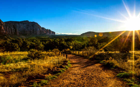 sun, tapety, горы, trees, также, arizona, rises, aonb,