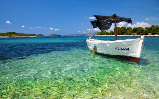 пляж, tropical, лодка