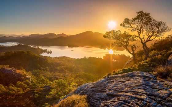 панорама, trees, горы, норвегия, рассвет, озеро,