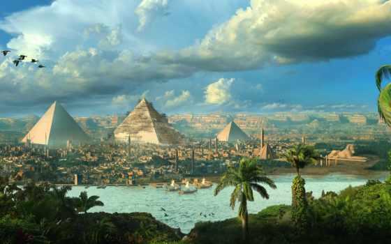 пирамида, египте, старинный, египта, египетский