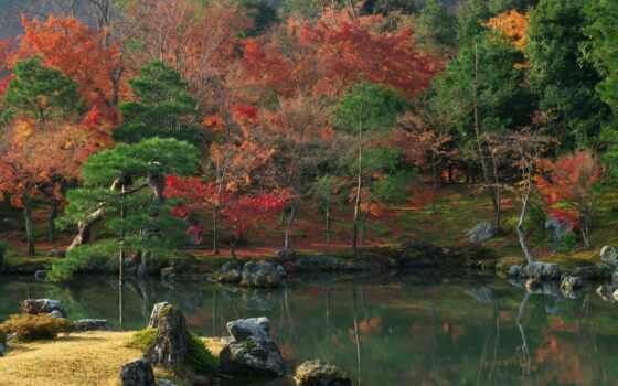 осень, гора, река