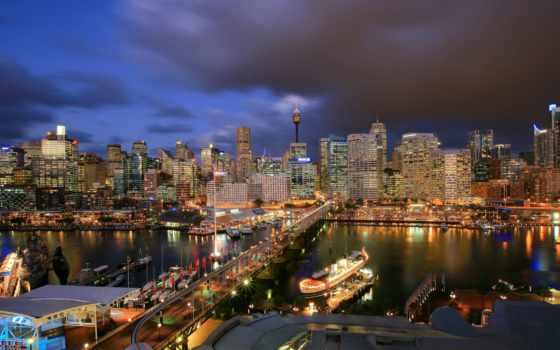 гавань, sydney, darling, австралия, квартира, ночь, cbd, сердце,