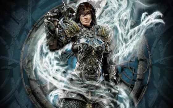 воин, женщина, огромным, мечом, девушка,