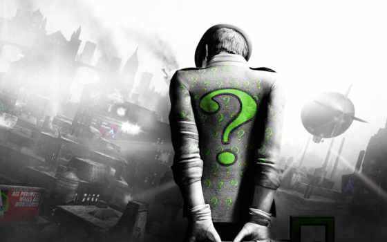 batman, город, arkham, riddler, загадочник, зелёный,