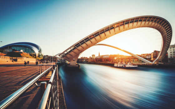 мост, gateshead, millennium, англия, ук, река,