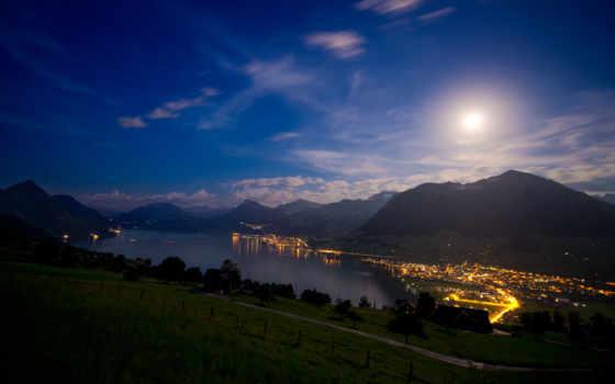 ночь, озеро, swiss, весенних, горы, горах, огни, фирвальдштетско, landscape, пейзажи -,