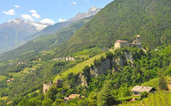 castle, горы, froward, italian, landscape, побережье, природа, сша, картинка, города,