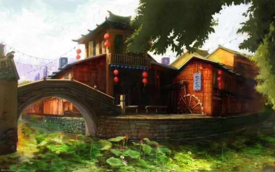 harmony, город, пагода, нарисованные, старый, japanese, заставки, рисованные, gandex, мост, art,