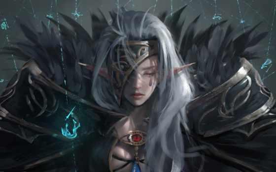 девушка, anime, эльф, fantasy, воин, art, истребитель, картинка, магия,