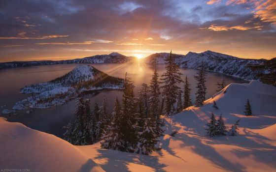 winter, sun, rising, природа, над, снег, фотограф, озеро, фото, закат