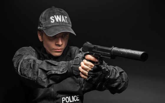 swat, art, led, лампа, spec, police, пистолет, офицерский, оружие, black