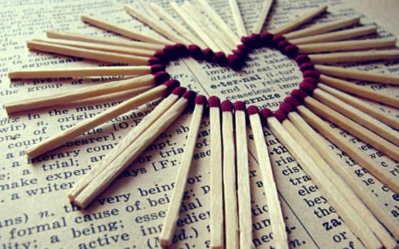 газета, спички, серце, heart, desktop, matches, love, спичек, смотрите,