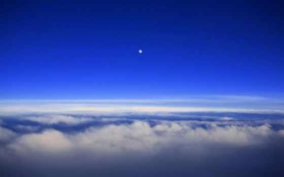 со, облаками, луна