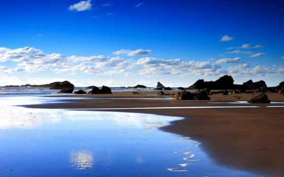 пейзаж, морской, песок