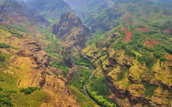 каньон, ваймеа, kauai, сша, waimea, острова, западе, сanyon, острове, мира, тихом,
