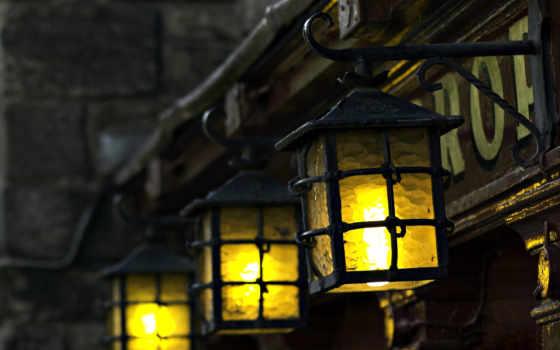 widescreen, свет, фон, lantern, настроение, lamps, размытость, фонарик,
