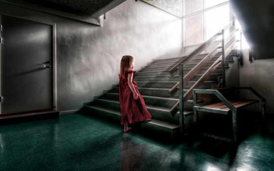 лестница, платье, поднимается, лестнице, девушка, manu, reno, когда, женщина,