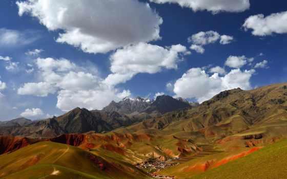 landscapes, природа, лес, горы, kobieta, oblaka,