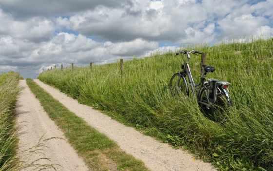 outdoor, дорога, roadside, небо, трава, пейзажи -, new, countryside, природа, bike,