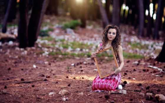 девушка, поляне, зеркало, лес, devushki, зеркалом, desktop,