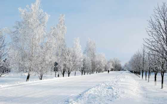 winter, дорога, снег