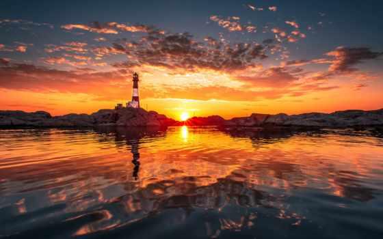 море, закат, lighthouse, природа, закаты, рассветы, landscape, oblaka, дерево, маяки,
