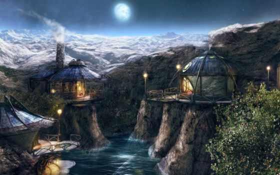 myst, горы, река
