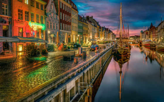 реки, copenhagen, города, дома, denmark, ночь, причалы,