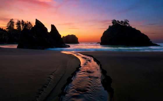 пляж, waves, море, water, ocean, волна, песок, ночь, пейзажи -, пляжи, скалы,
