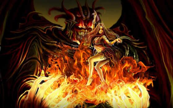 демон, огонь, avatars, forum, широкоформатные, девушка, страница,