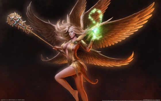 девушка, angel, крылья, магия, art, посох, juggernaut, кросс,