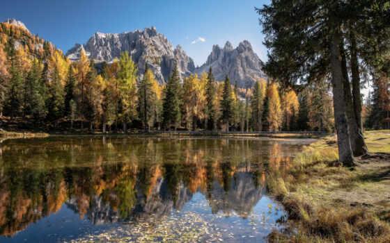 природа, гора, park, дерево, мост, national, море, zinnen, осень, площадь, dolomite