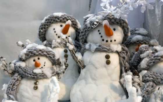 снеговики, зима, новый, год, веселые, серые, шарфики, улыбчивые, white, snowmans,