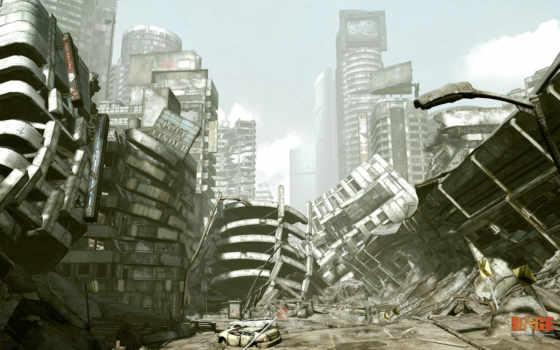 постапокалипсис, город, графика