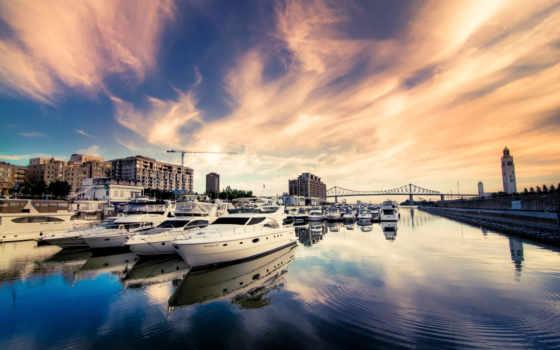 яхты, город, река