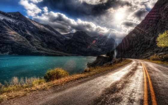 дорога, горы, река, sun, асфальт, тучи, разметка, oblaka,